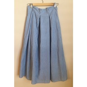 SHEIN • Paperbag Style Blue Pinstripe Maxi Skirt